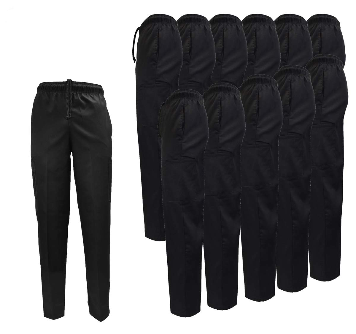 Natural Uniforms Classic 6 Pocket Black Chef Pants with Multi-Pack Quantities Available (12, Large) by Natural Uniforms