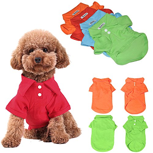 KINGMAS 4pcs Dog Shirts Pet Puppy Polo T-Shirt Clothes Outfit Apparel Coats Tops - Small