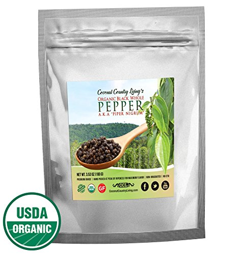 Organic Black Peppercorns Whole, Fair Trade Certified 3.5 oz Premium Grade
