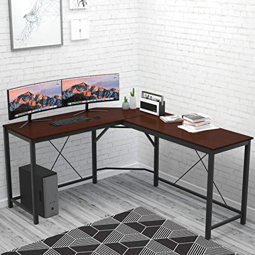 L Shaped Desk Home Office Desk Large Desk Panel. Coleshome Computer Desk Sturdy Computer Table Writing Desk Workstation, African Walnut ()