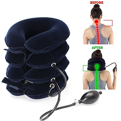 Essort Inflatable Neck Head Pain Relief Traction Cervical Collar Neck Support Brace, Cervical Traction Unit,U Shape, Navy (New Cervical Neck Traction)