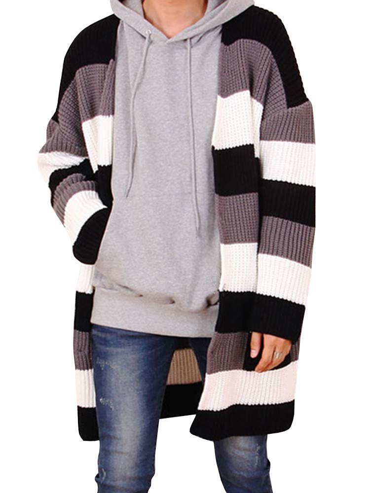 Mafulus Mens Cardigans Open Front Sweaters Oversized Stripe Button Down Loose Knit Sweater with Pockets