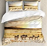 Safari Duvet Cover Set by Ambesonne, Zebras with Their Striped Coats in Savannahs Sunset Adventure Africa Wild Safari, 3 Piece Bedding Set with Pillow Shams, King Size, Cream Golden