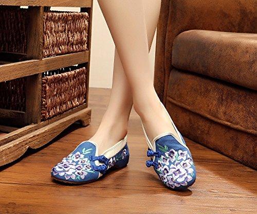 Casuales Mujeres Flor la de de de Pekín la Lirio Zapatos Chino Bordadas Azul Lona Zapatos Planos de los del de qwFSZxW5X