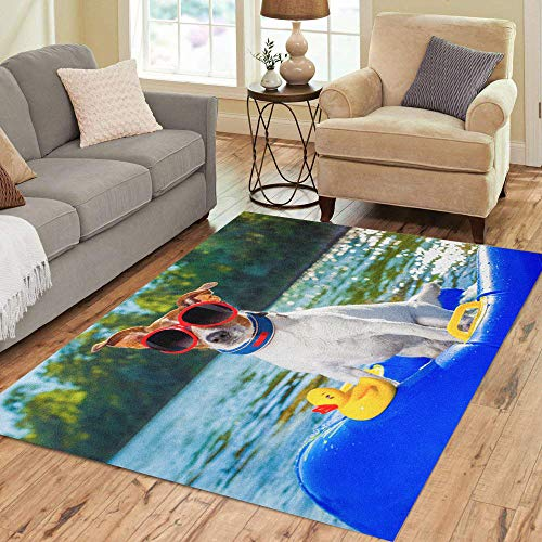 (Semtomn Area Rug 2' X 3' Jack Russell Dog Sitting on Inflatable Mattress in Water Home Decor Collection Floor Rugs Carpet for Living Room Bedroom Dining Room)