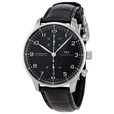 IWC Portuguese Black Dial Automatic Alligator Leather Mens Watch 3714-47