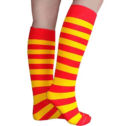 Chrissy's Socks Women's Striped Knee High Socks 7-11 Red / Gold ()