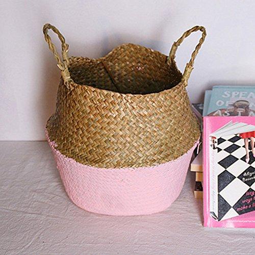AIUSD Clearance , Seagrass Wicker Basket Wicker Basket Flower Pot Folding Basket Dirty Basket