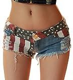 Chouyatou Women's Low-Rise American Flag Print Daisy Duke Ripped Denim Shorts (Medium, Blue)