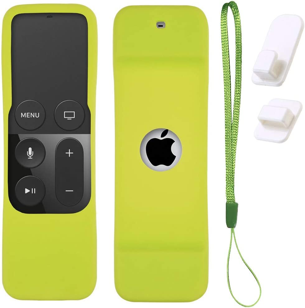 Case for Apple TV 4K/5th and 4th Gen Remote, Green Silicone Skin Protective Cover for Apple TV Siri Remote - Includes Free Wall Self Adhesive Hook Holder and Wrist Strap. by Gesoon