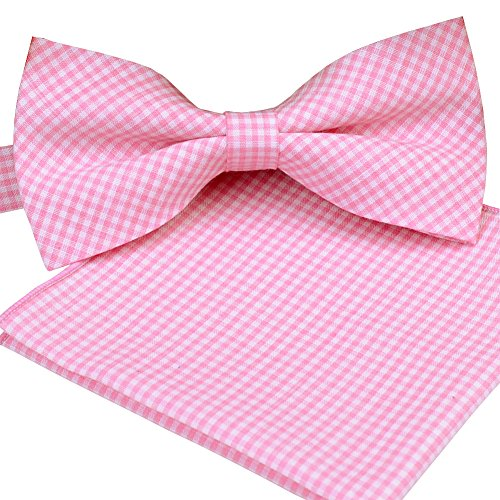 ST34 Brand New Small Plaid Cotton Mens Bow tie and Pocket square Set-Vatious Colors (BB-881(Light Pink))