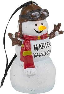 Harley-Davidson Custom Sculpted Biker Snowman LED Ornament - White HDX-99208