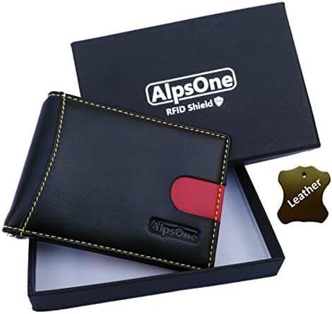 AlpsOne RFID Front Pocket Travel Wallet Genuine Leather Slim Wallet RFID Blocking, Dark Brown