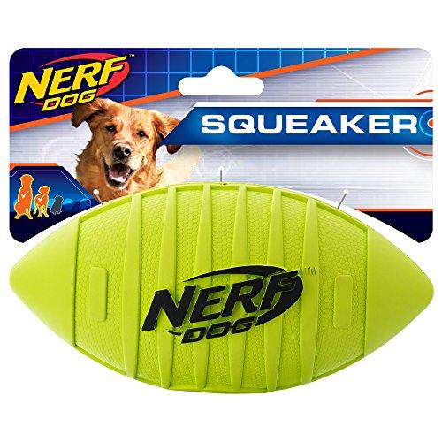 Nerf Dog Squeak Rubber Football Dog Toy, Medium/Large, Green ()