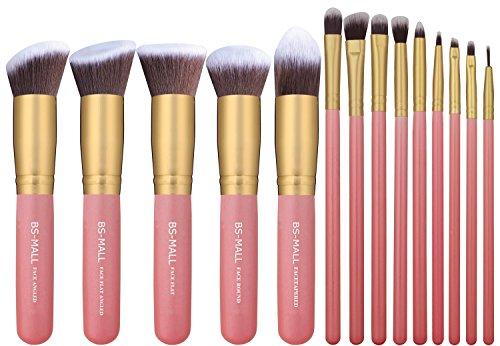BS-centre commercial nouveau 14 Pcs Premium synthétique Kabuki maquillage Brush Set cosmétiques Fondation mélange Blush Eyeliner poudre pour le visage brosse maquillage brosse Kit(golden Pink)