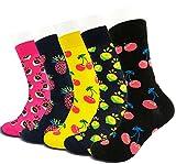 Mixsense 5 Pack Men's Casual Cotton Colorful Geometry Fashion Funky Design Pattern Comfortable Crew Socks (five)