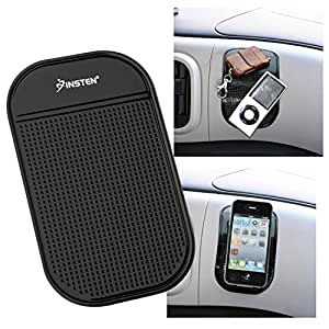 Insten Universal Magic Sticky Anti-Slip Mat Compatible with Samsung Galaxy Note 4/Apple iPhone 6 Plus - Retail Packaging - Black
