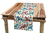 """Ambesonne Horses Table Runner, Classic Swedish Dalecarlian Coral Azure Blue Animals and Green Floral Arrangement, Dining Room Kitchen Rectangular Runner, 16"""" X 72"""", Pink Blue"""