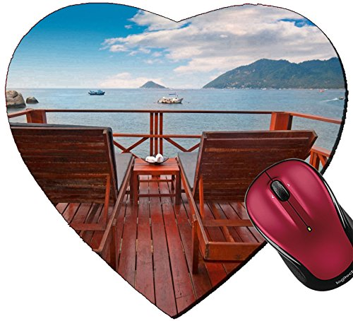 Liili Mousepad Heart Shaped Mouse Pads/Mat Two Beach beds on a Terrace with Beautiful sea View Image ID 11520071