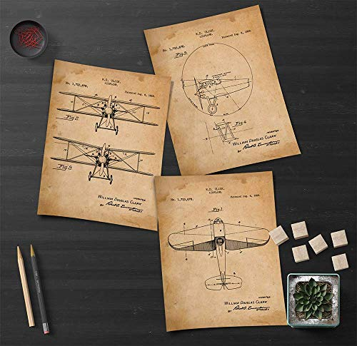 """Airplane - Patent Prints - Awesome - Set of 3 (8"""" x 10"""") Prints - Custom Decor for Anyone who Loves the History of Flying or Dreams of Flying"""