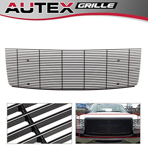 - AUTEX Black Aluminum Main Upper Billet Grille Grill Insert Compatible With GMC Sierra 1500 New Body 2007-2013/Sierra Denali New Body 2007-2010