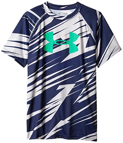 Under Armour Boys' Tech Big Logo Printed Short Sleeve T-Shirt, Steel/Blue Knight, Youth Small