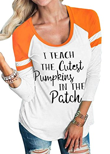 (Women Halloween I Teach The Cutest Pumpkins in The Patch Long Sleeve T-Shirt Top Size M (White) )