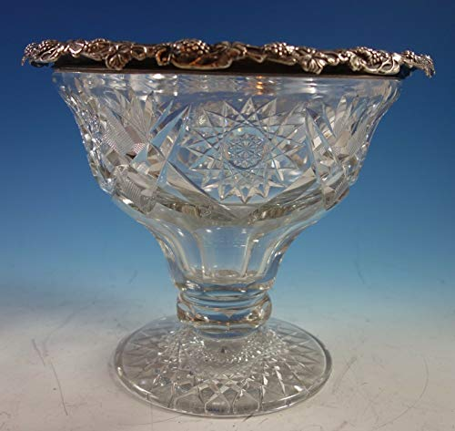Antique Cut Glass Bowls - Wilcox Co. Cut Glass Punch Bowl with Sterling Silver Grapes (#2159)