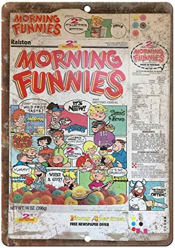 """Ohuu Morning Funnies Cereal Box Art 12"""" X 8"""" Retro Metal tin Sign for Garage Home Garden Store Bar CAFÉ"""