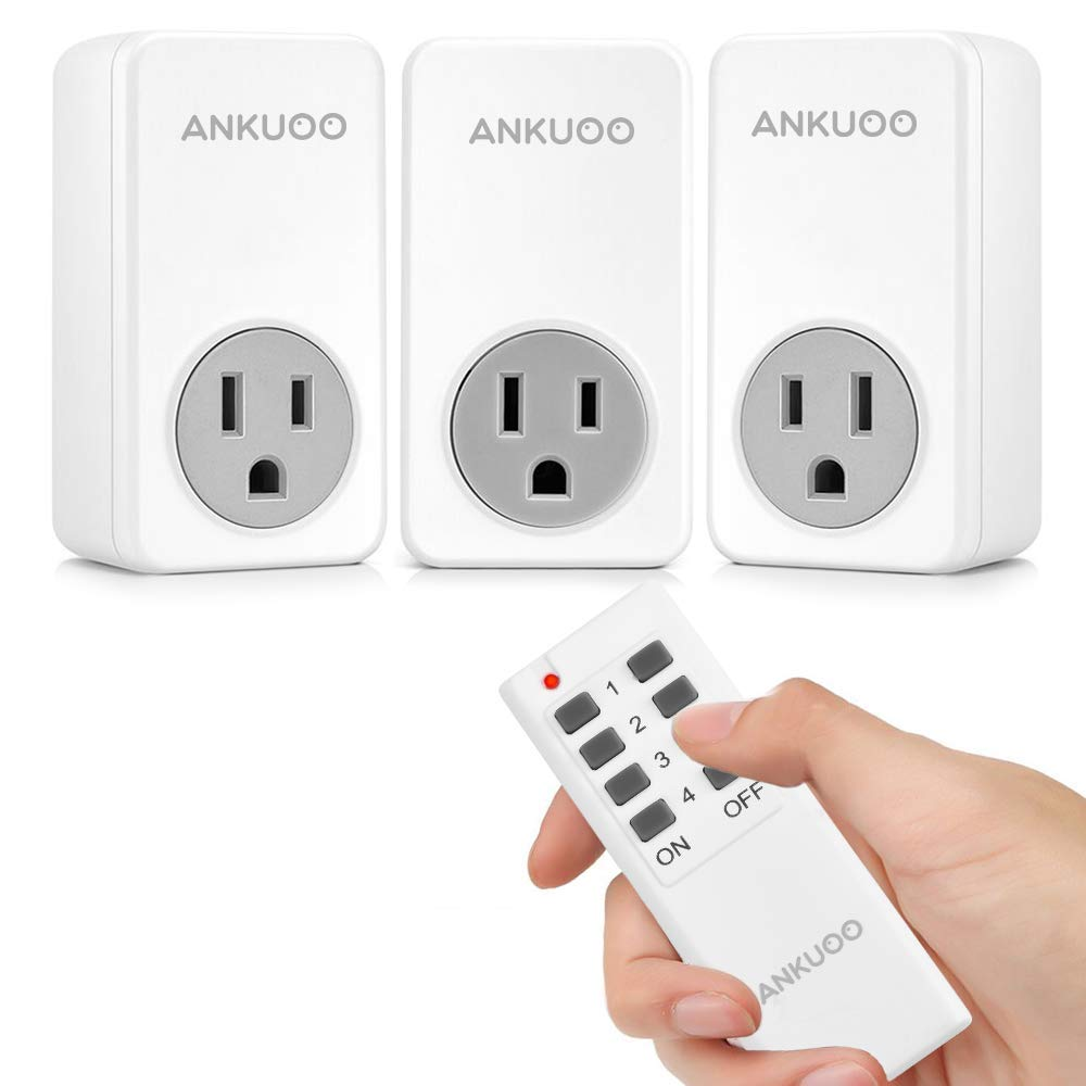 Remote Control Outlet Wireless Light Switch Power Plug By Ankuoo, Wireless Outlet For Household Appliances with 100 ft. Range, White (1 Remote + 3 Outlets) Pack (New model)