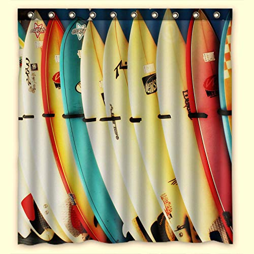 (KXMDXA Custom Colorful Surfboard Waterproof Polyester Fabric Bathroom Shower Curtain with Ringstandard Size 66 X 72 Inches)