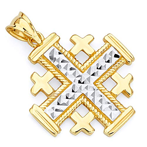 Wellingsale 14k Two 2 Tone White and Yellow Gold Jerusalem Cross Religious Pendant (Size : 25 x 18 mm) ()