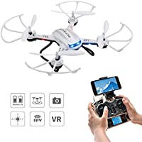 Drone with Camera, Potensic F181WH Drone RTF Altitude Hold RC Quadcopter UFO with 2MP WiFi Camera (White)
