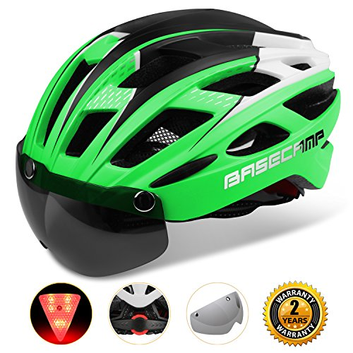Cheap Basecamp Bike Helmet, Light weight Bicycle Helmet Specialized Cycling Helmet with Removable Visor& Safety Light& Adjustable Liner for Men&Women (Green)