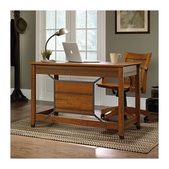 Sauder Carson Forge Writing Desk, Washington Cherry finish - Flip-down molding reveals slide-out shelf for keyboard/mouse or laptop Small drawer with metal runners and safety stops Finished on all sides for versatile placement - writing-desks, living-room-furniture, living-room - 51puSORCu4L. SS570  -