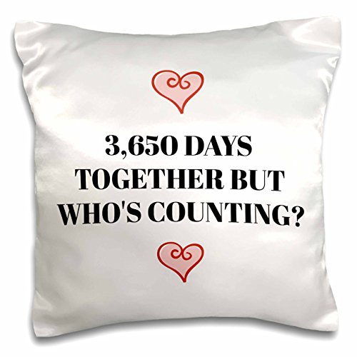 3dRose Xander funny quotes - 3650 days together, but whos counting, black letters and heart pictures - 16x16 inch Pillow Case (pc_265918_1)