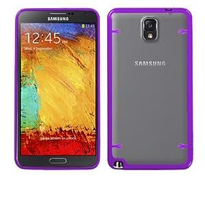 Samsung Galaxy Note 3 N9000 Clear and Purple Crystal Ultra Thin Hybrid TPU Case