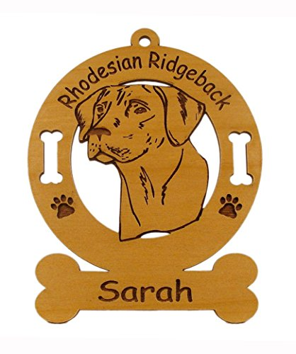 3822 Rhodesian Ridgeback Head Ornament Personalized with Your Dog's Name