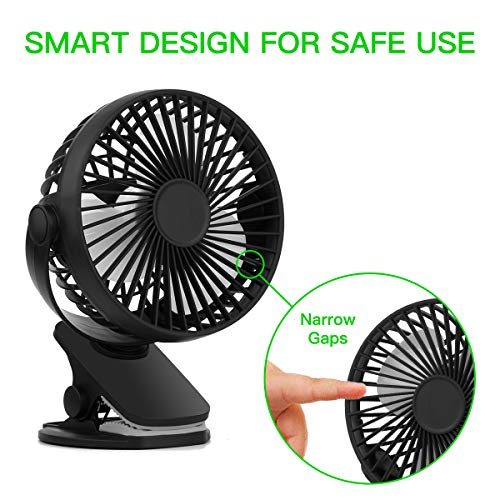 Home Ideal for Office Travel and More Vaincre 360° Rechargeable USB Clip On Mini Desk Fan Three Quiet Speeds Black Portable Table-Top Fan Fully Adjustable Head