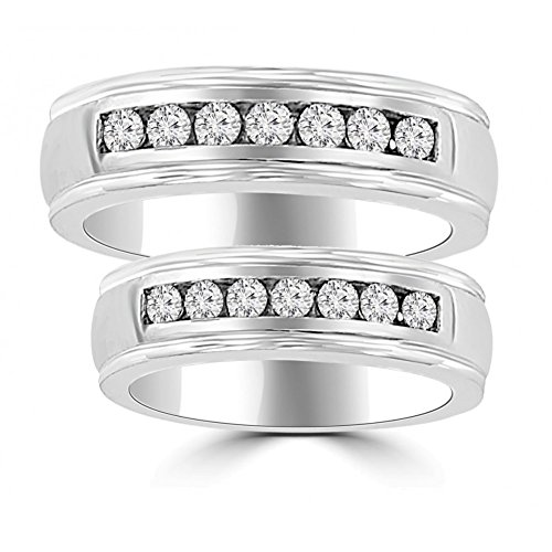 1.06 ct His & Hers Round Cut Diamond Wedding Band Ring Set in Platinum In Size 7