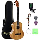 Tenor Ukulele Mahogany Bundle 26 Inch Professional Aquila Strings Kids Small Guitar Beginner Kit with Tuner, Strap, Extra Strings, Polishing cloth, Picks, Gig Bag for Kids Children Adults Students