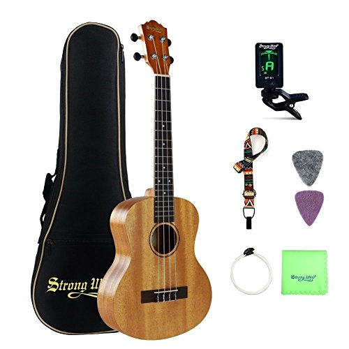 Tenor Ukulele Mahogany Bundle 26 Inch Professional Aquila Strings Kids Small Guitar Beginner Kit with Tuner, Strap, Extra Strings, Polishing cloth, Picks, Gig Bag for Kids Children Adults Students by Strong Wind