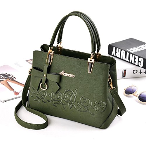 Bag Handbag Women Shoulder Bowknot Handbag Plot Fashion Green Pattern Crossbody Rose twd0qw