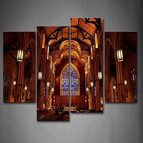 First Wall Art - People In Cathedral Wall Art Painting Pictures Print On