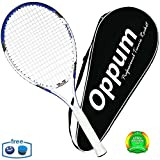 oppum Adult Carbon Fiber Tennis Racket, Super Light Weight Tennis Racquets Shock-Proof and Throw-Proof,Include Tennis Bag Tennis Overgrip (Aluminum-Carbon Racquet(Blue), 4 3/8)