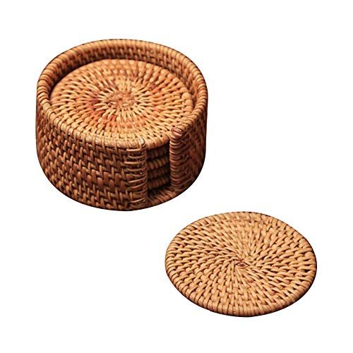 Woven Rattan Coasters for Drinks, Boshiho Handcrafted Round Edge Placemat with Holder Storage Caddy Eco-friendly Cup Mat Dishes-Insulated Hot Pads, Pot Holder for Kitchen, Office, Set of 6 (3.14 inch) ()