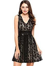 Meaneor Women's Vintage Floral Lace Sleeveless Bow Tie Cocktail Evening Party Dress