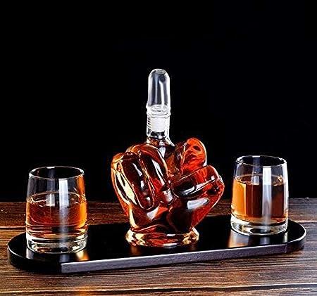 WJJ Botella de Whisky Cristal Deconente De La Novedad De La Novedad del Dedo De La Novedad, 2 Gafas De Consumición del Vaso, Y Base De Madera, Regalo para Hombre Que Enfría Piedras De Whisky Y Embudo