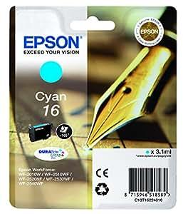 Epson C13T16224012 - Cartucho de tóner adecuado para WF2010, color cyan, paquete estándar