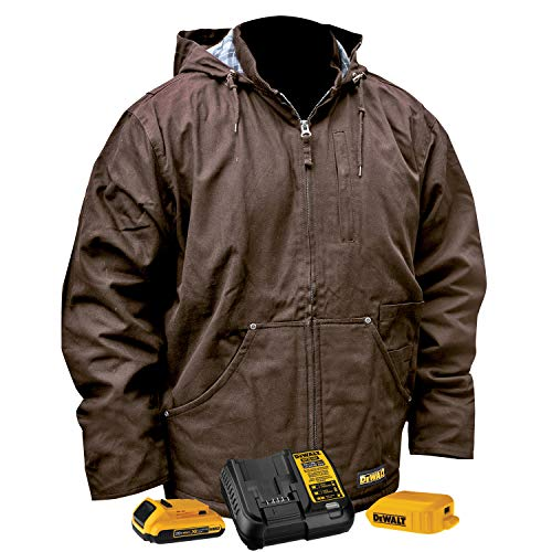DEWALT Unisex Large Tobacco Duck Fabric Heated Heavy Duty Work Coat with 20-Volt/2.0 Amp Battery and Charger
